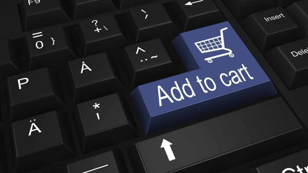 Add to cart button on the computer's keyboard